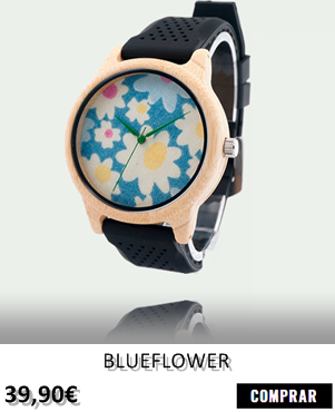 RELOJ DE MADERA RENEGADE BLUEFLOWER