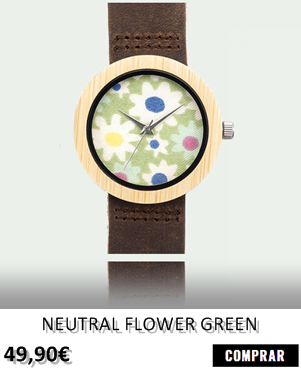 RELOJ DE MADERA RENEGADE NEUTRAL FLOWER GREEN