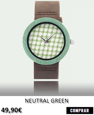 RELOJ DE MADERA RENEGADE NEUTRAL GREEN